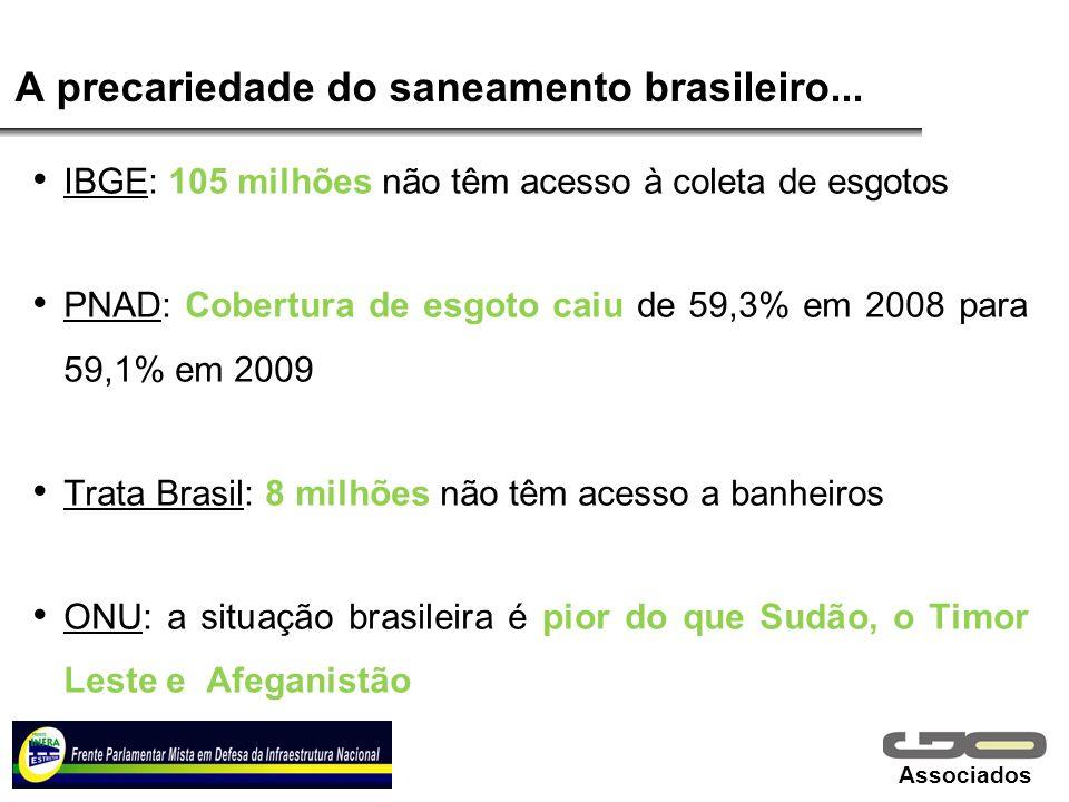 Associados A precariedade do saneamento brasileiro... IBGE: 105 milhões não têm acesso à coleta de esgotos PNAD: Cobertura de esgoto caiu de 59,3% em