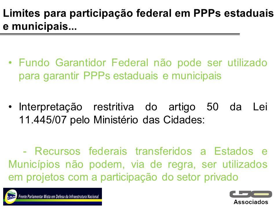 Associados Limites para participação federal em PPPs estaduais e municipais... Fundo Garantidor Federal não pode ser utilizado para garantir PPPs esta