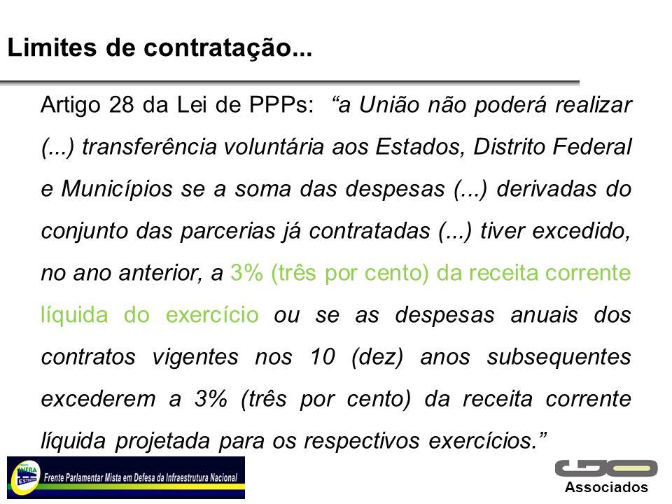 Associados Limites de contratação... Artigo 28 da Lei de PPPs: a União não poderá realizar (...) transferência voluntária aos Estados, Distrito Federa