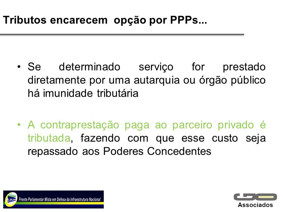Associados Tributos encarecem opção por PPPs... Se determinado serviço for prestado diretamente por uma autarquia ou órgão público há imunidade tribut
