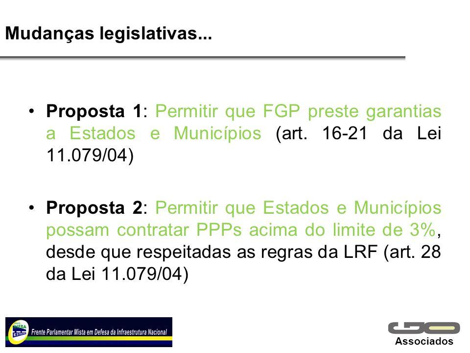 Associados Mudanças legislativas... Proposta 1: Permitir que FGP preste garantias a Estados e Municípios (art. 16-21 da Lei 11.079/04) Proposta 2: Per