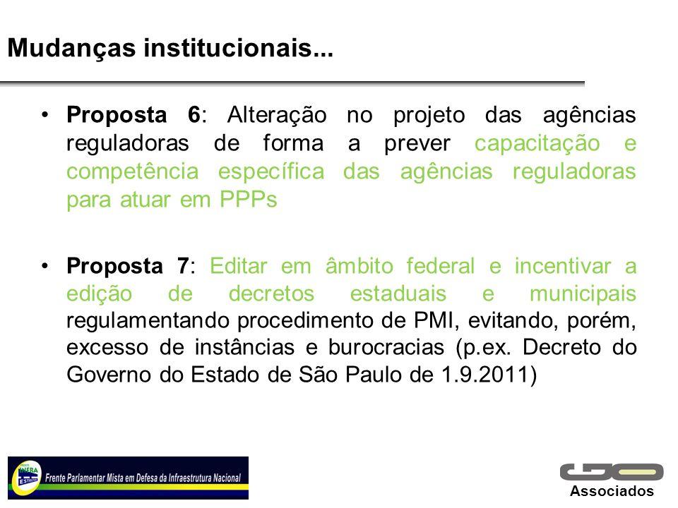 Associados Mudanças institucionais... Proposta 6: Alteração no projeto das agências reguladoras de forma a prever capacitação e competência específica