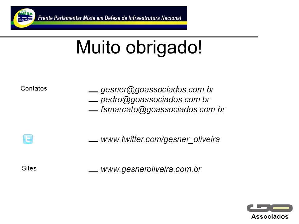 Associados Muito obrigado! gesner@goassociados.com.br pedro@goassociados.com.br fsmarcato@goassociados.com.br www.twitter.com/gesner_oliveira www.gesn