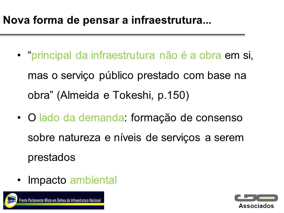 Associados Nova forma de pensar a infraestrutura... principal da infraestrutura não é a obra em si, mas o serviço público prestado com base na obra (A