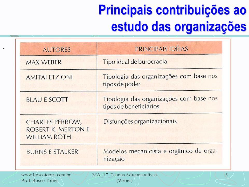 Principais contribuições ao estudo das organizações. www.boscotorres.com.br Prof. Bosco Torres MA_17_Teorias Administrativas (Weber) 3