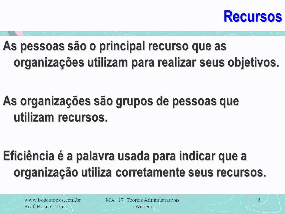 Recursos As pessoas são o principal recurso que as organizações utilizam para realizar seus objetivos. As organizações são grupos de pessoas que utili
