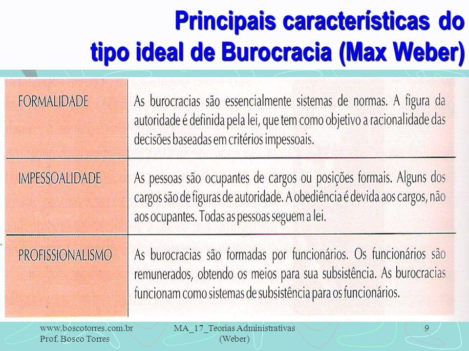 9 Principais características do tipo ideal de Burocracia (Max Weber). www.boscotorres.com.br Prof. Bosco Torres