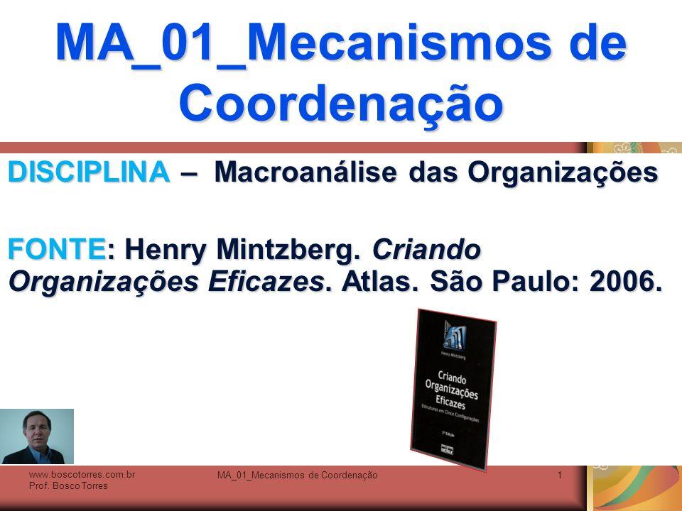 MA_01_Mecanismos de Coordenação1 DISCIPLINA – Macroanálise das Organizações FONTE: Henry Mintzberg. Criando Organizações Eficazes. Atlas. São Paulo: 2