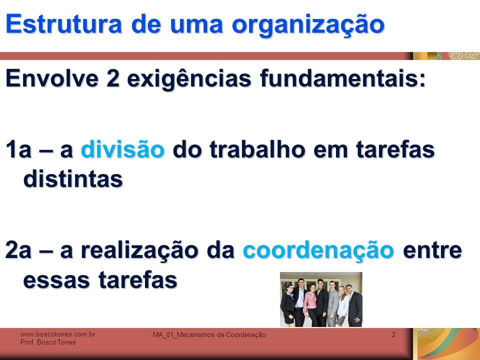 MA_01_Mecanismos de Coordenação2 Estrutura de uma organização Envolve 2 exigências fundamentais: 1a – a divisão do trabalho em tarefas distintas 2a –