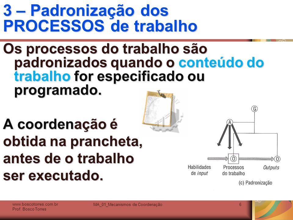 MA_01_Mecanismos de Coordenação6 3 – Padronização dos PROCESSOS de trabalho Os processos do trabalho são padronizados quando o conteúdo do trabalho fo