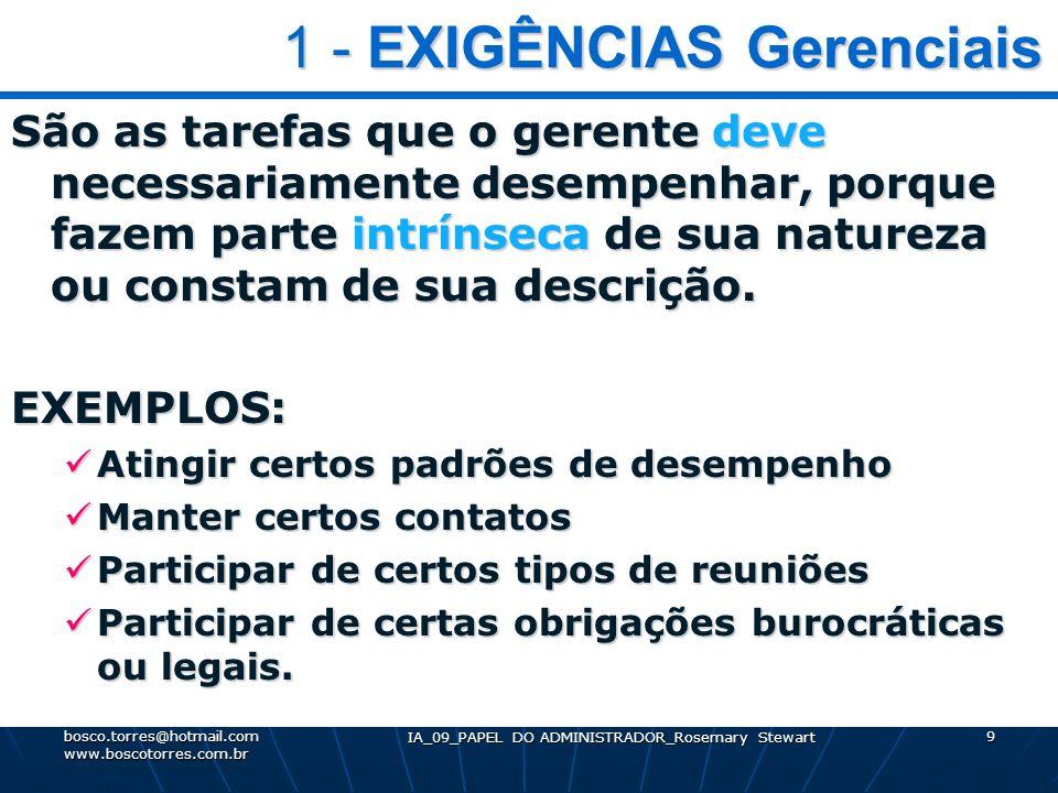 IA_09_PAPEL DO ADMINISTRADOR_Rosemary Stewart 9 1 - EXIGÊNCIAS Gerenciais 1 - EXIGÊNCIAS Gerenciais São as tarefas que o gerente deve necessariamente