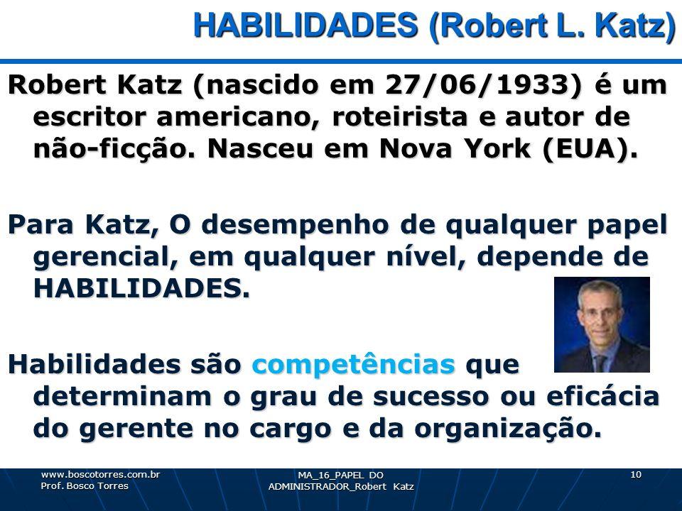 MA_16_PAPEL DO ADMINISTRADOR_Robert Katz 10 HABILIDADES (Robert L. Katz) HABILIDADES (Robert L. Katz) Robert Katz (nascido em 27/06/1933) é um escrito