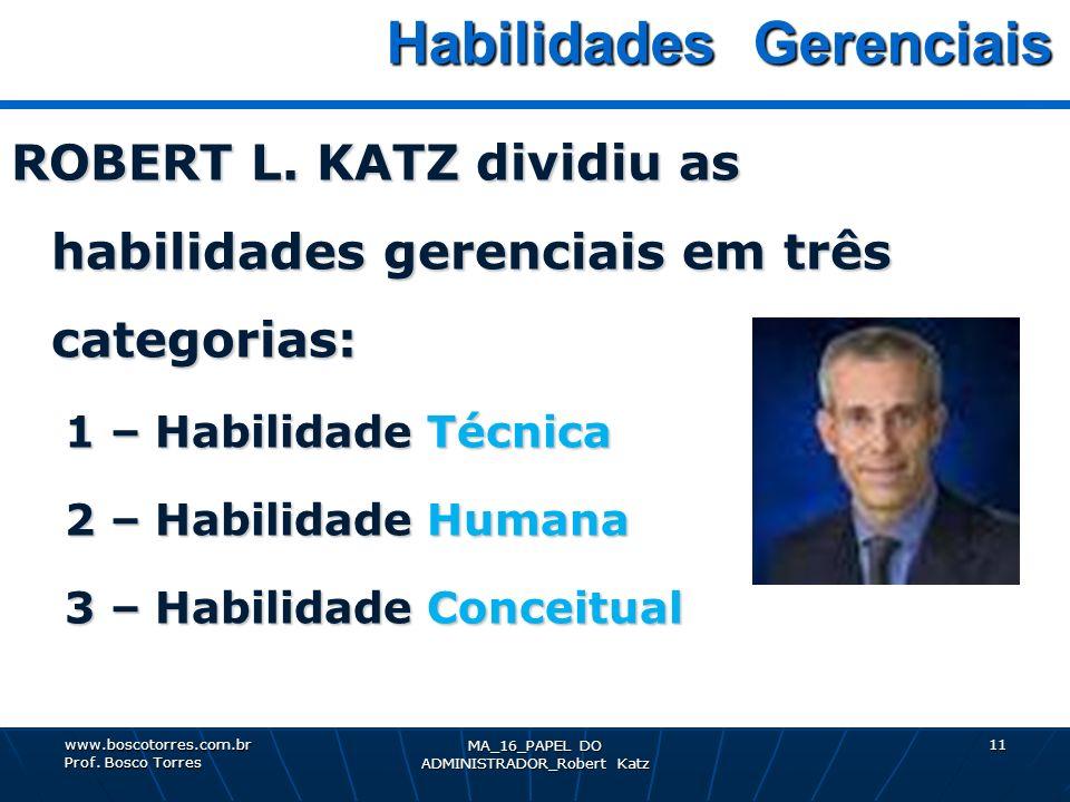MA_16_PAPEL DO ADMINISTRADOR_Robert Katz 11 Habilidades Gerenciais Habilidades Gerenciais ROBERT L. KATZ dividiu as habilidades gerenciais em três cat