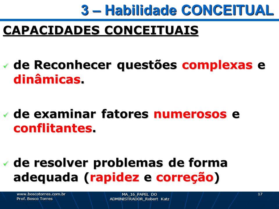 3 – Habilidade CONCEITUAL 3 – Habilidade CONCEITUAL CAPACIDADES CONCEITUAIS de Reconhecer questões complexas e dinâmicas. de Reconhecer questões compl