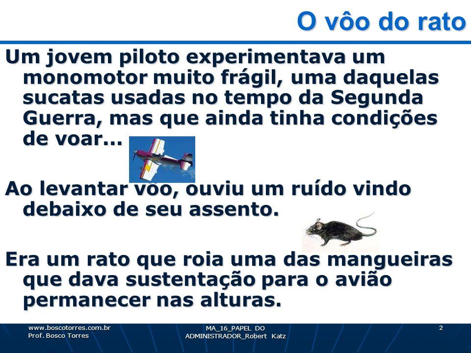 MA_16_PAPEL DO ADMINISTRADOR_Robert Katz 2 O vôo do rato O vôo do rato Um jovem piloto experimentava um monomotor muito frágil, uma daquelas sucatas u
