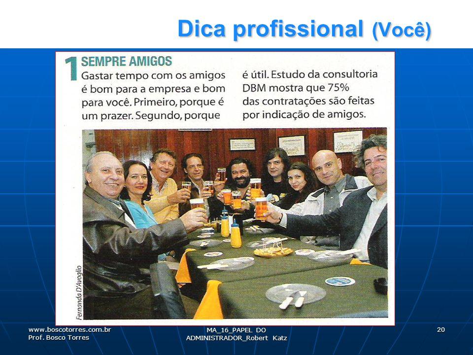Dica profissional (Você) Dica profissional (Você) MA_16_PAPEL DO ADMINISTRADOR_Robert Katz 20www.boscotorres.com.br Prof. Bosco Torres
