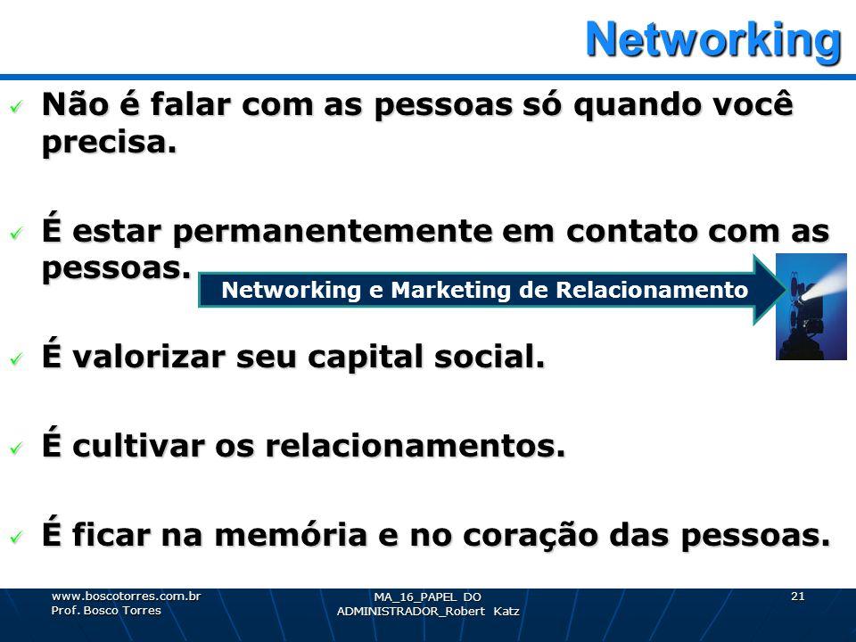 Networking Networking Não é falar com as pessoas só quando você precisa. Não é falar com as pessoas só quando você precisa. É estar permanentemente em