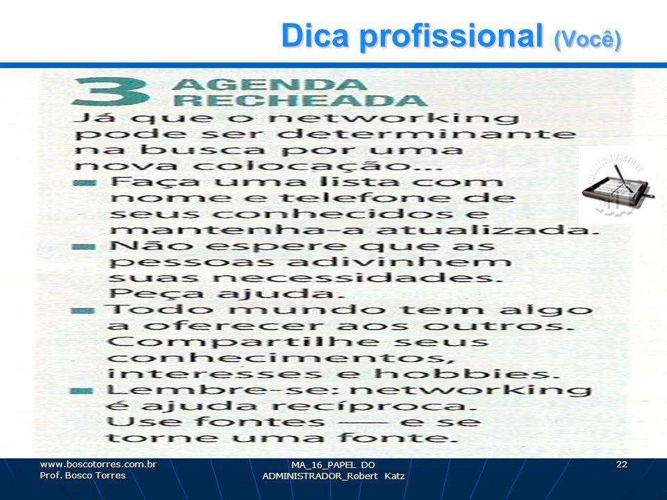 Dica profissional (Você) Dica profissional (Você), MA_16_PAPEL DO ADMINISTRADOR_Robert Katz 22www.boscotorres.com.br Prof. Bosco Torres