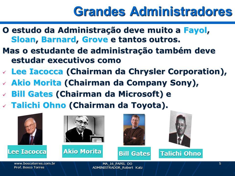 MA_16_PAPEL DO ADMINISTRADOR_Robert Katz 5 Grandes Administradores Grandes Administradores O estudo da Administração deve muito a Fayol, Sloan, Barnar