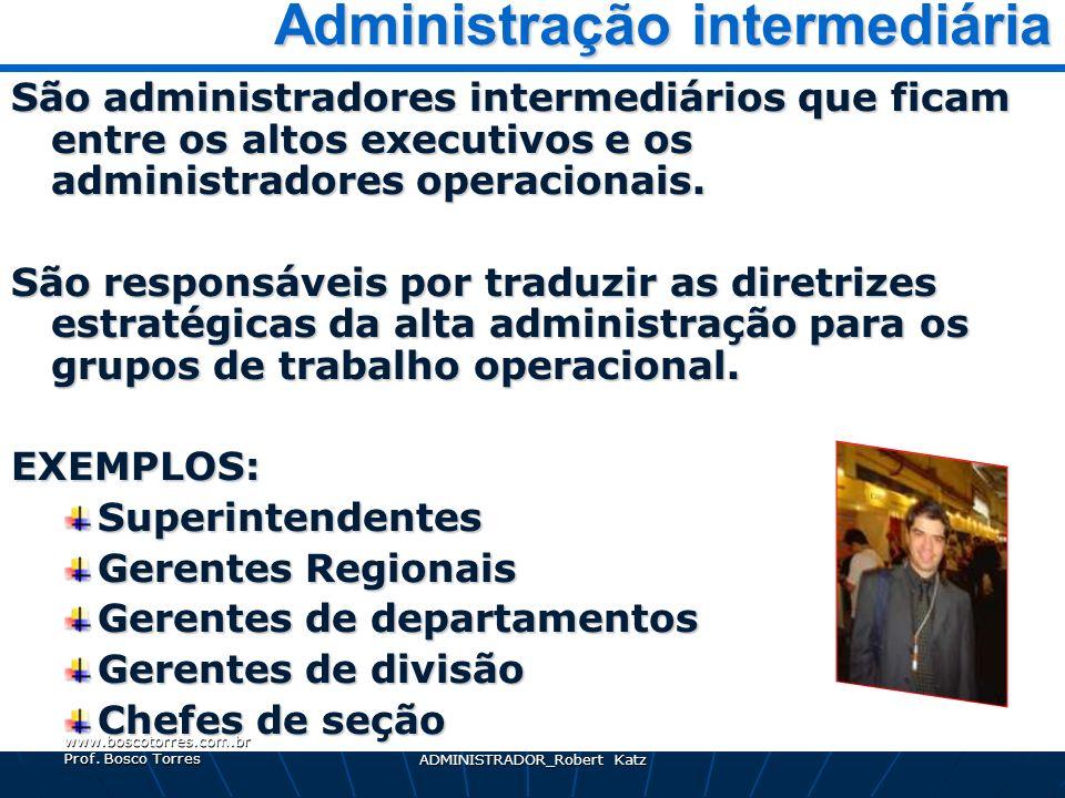MA_16_PAPEL DO ADMINISTRADOR_Robert Katz 8 Administração intermediária Administração intermediária São administradores intermediários que ficam entre