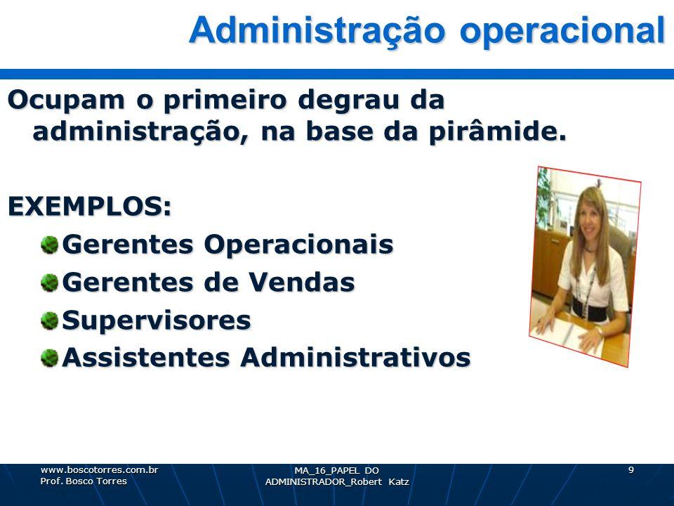 MA_16_PAPEL DO ADMINISTRADOR_Robert Katz 9 Administração operacional Administração operacional Ocupam o primeiro degrau da administração, na base da p