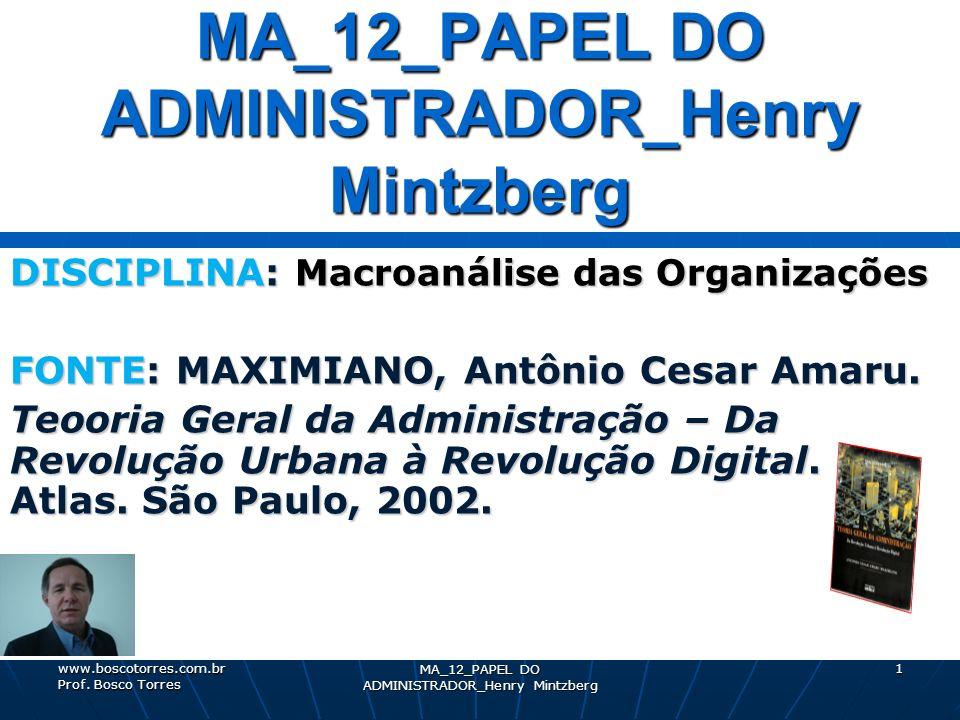MA_12_PAPEL DO ADMINISTRADOR_Henry Mintzberg 1 DISCIPLINA: Macroanálise das Organizações FONTE: MAXIMIANO, Antônio Cesar Amaru. Teooria Geral da Admin