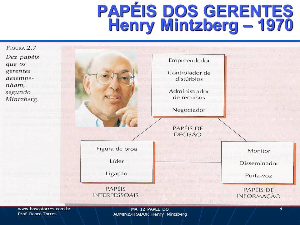 4 PAPÉIS DOS GERENTES Henry Mintzberg – 1970 PAPÉIS DOS GERENTES Henry Mintzberg – 1970. www.boscotorres.com.br Prof. Bosco Torres