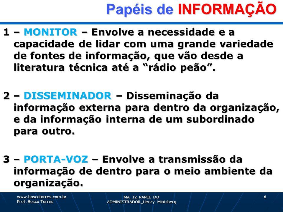 MA_12_PAPEL DO ADMINISTRADOR_Henry Mintzberg 6 Papéis de INFORMAÇÃO Papéis de INFORMAÇÃO 1 – MONITOR – Envolve a necessidade e a capacidade de lidar c