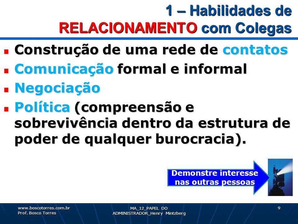 1 – Habilidades de RELACIONAMENTO com Colegas Construção de uma rede de contatos Comunicação formal e informal Negociação Política (compreensão e sobr