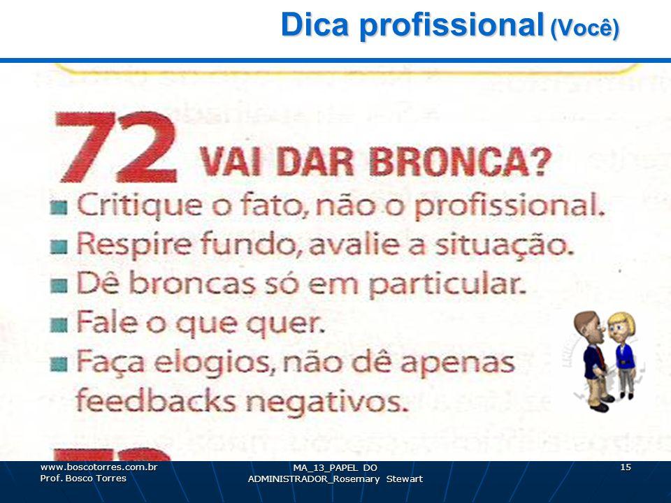 MA_13_PAPEL DO ADMINISTRADOR_Rosemary Stewart 15 Dica profissional (Você) Dica profissional (Você). www.boscotorres.com.br Prof. Bosco Torres