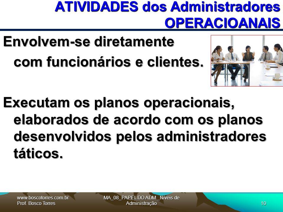 MA_08_PAPEL DO ADM._Níveis de Administração10 ATIVIDADES dos Administradores OPERACIOANAIS Envolvem-se diretamente com funcionários e clientes.
