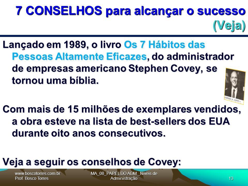 7 CONSELHOS para alcançar o sucesso (Veja) Lançado em 1989, o livro Os 7 Hábitos das Pessoas Altamente Eficazes, do administrador de empresas americano Stephen Covey, se tornou uma bíblia.
