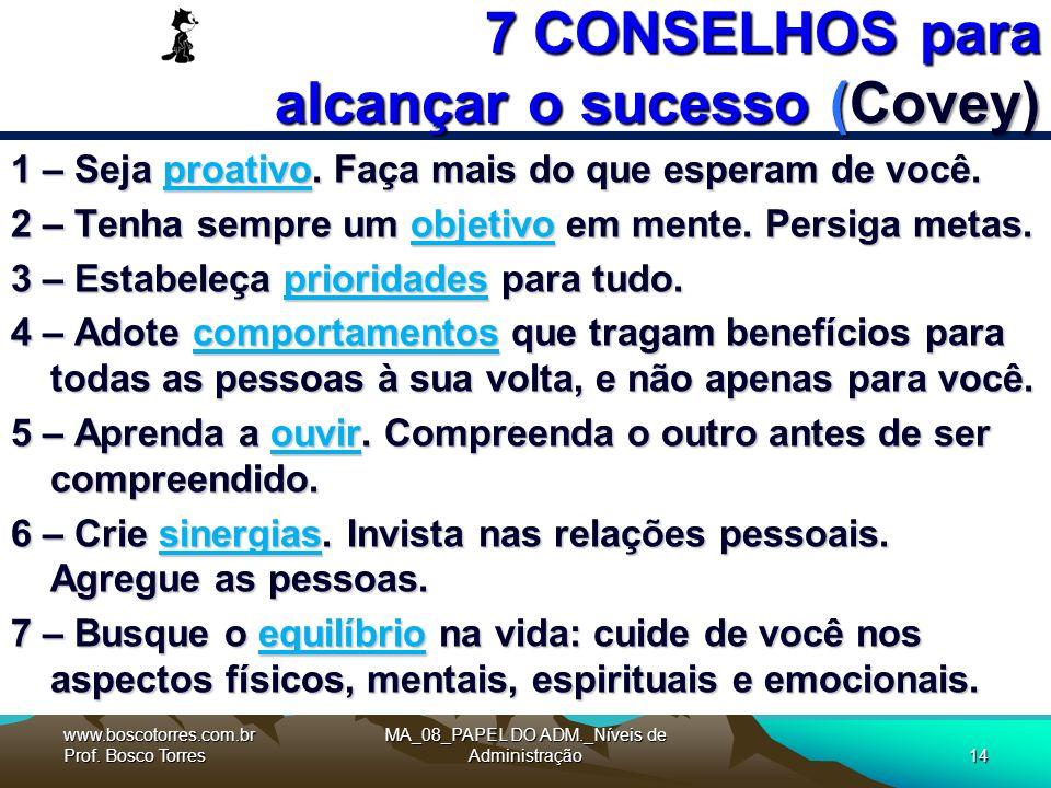 7 CONSELHOS para alcançar o sucesso (Covey) 1 – Seja proativo.