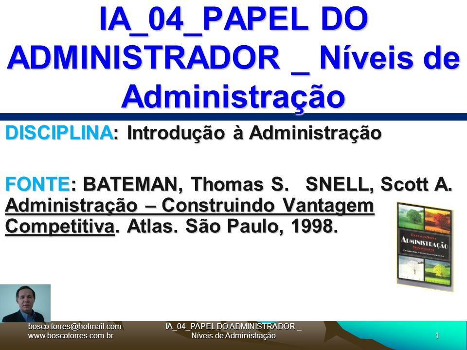 1 IA_04_PAPEL DO ADMINISTRADOR _ Níveis de Administração DISCIPLINA: Introdução à Administração FONTE: BATEMAN, Thomas S. SNELL, Scott A. Administraçã