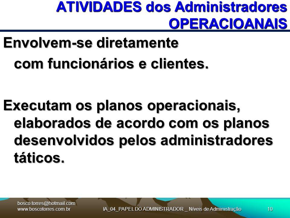 IA_04_PAPEL DO ADMINISTRADOR _ Níveis de Administração10 ATIVIDADES dos Administradores OPERACIOANAIS Envolvem-se diretamente com funcionários e clien