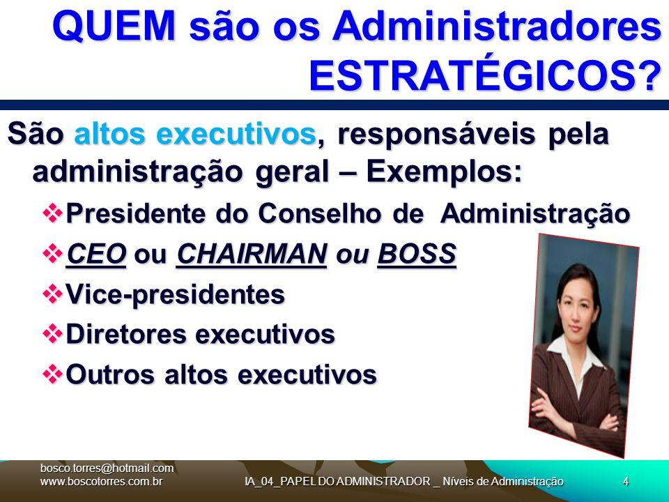 IA_04_PAPEL DO ADMINISTRADOR _ Níveis de Administração4 QUEM são os Administradores ESTRATÉGICOS? São altos executivos, responsáveis pela administraçã