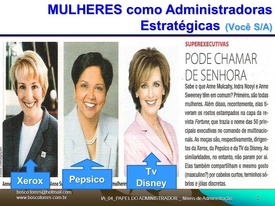 IA_04_PAPEL DO ADMINISTRADOR _ Níveis de Administração 5 MULHERES como Administradoras Estratégicas (Você S/A). XeroxPepsico Tv Disney bosco.torres@ho