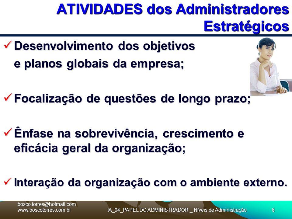 IA_04_PAPEL DO ADMINISTRADOR _ Níveis de Administração6 ATIVIDADES dos Administradores Estratégicos Desenvolvimento dos objetivos Desenvolvimento dos