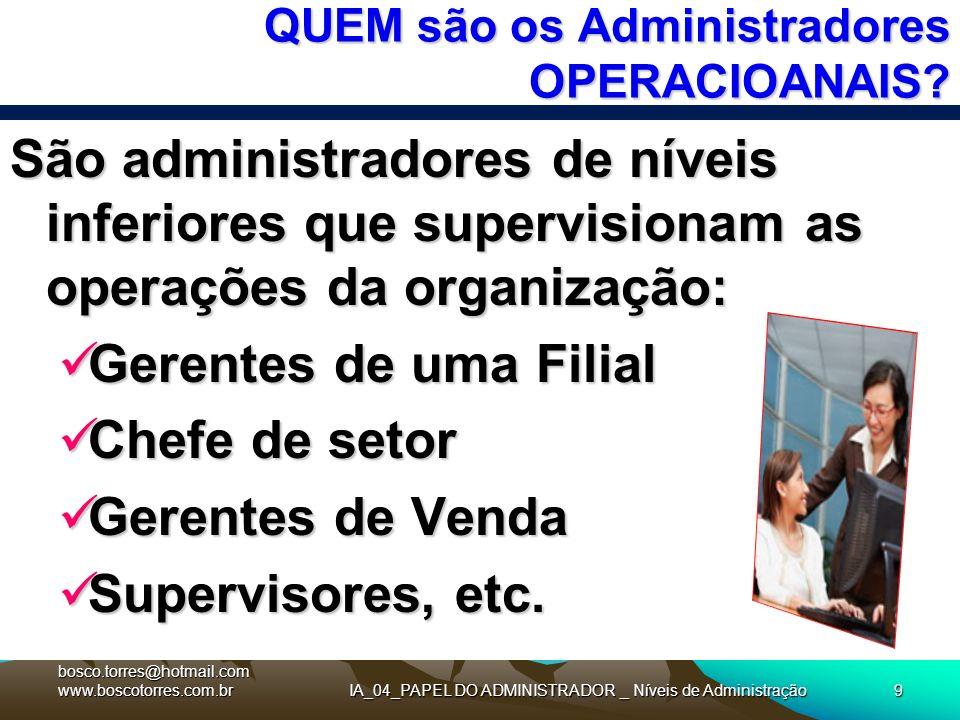 IA_04_PAPEL DO ADMINISTRADOR _ Níveis de Administração9 QUEM são os Administradores OPERACIOANAIS? São administradores de níveis inferiores que superv