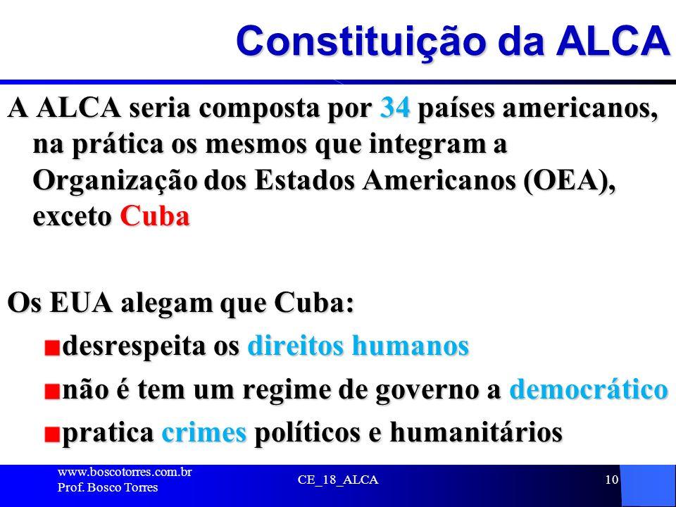 Constituição da ALCA A ALCA seria composta por 34 países americanos, na prática os mesmos que integram a Organização dos Estados Americanos (OEA), exc