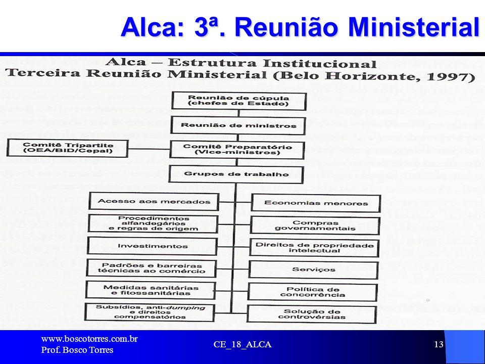 CE_18_ALCA13 Alca: 3ª. Reunião Ministerial. www.boscotorres.com.br Prof. Bosco Torres