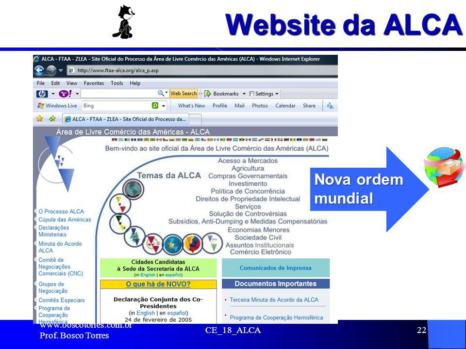 Website da ALCA. www.boscotorres.com.br Prof. Bosco Torres CE_18_ALCA22 Nova ordem mundial