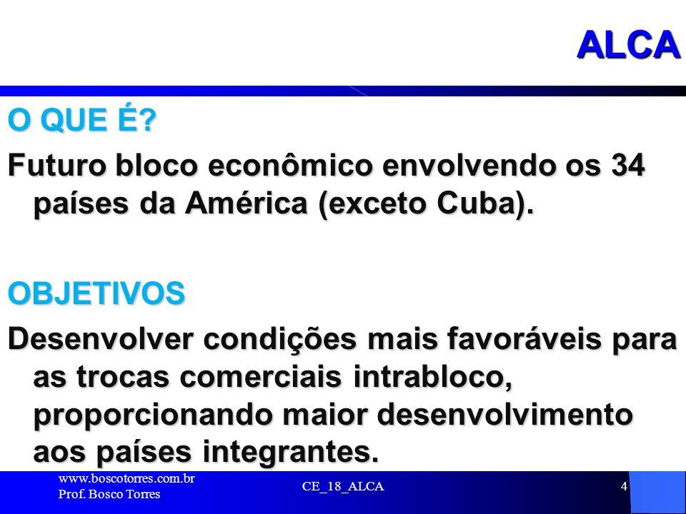 ALCA O QUE É? Futuro bloco econômico envolvendo os 34 países da América (exceto Cuba). OBJETIVOS Desenvolver condições mais favoráveis para as trocas