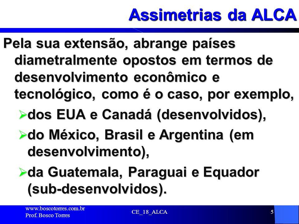 Assimetrias da ALCA Pela sua extensão, abrange países diametralmente opostos em termos de desenvolvimento econômico e tecnológico, como é o caso, por
