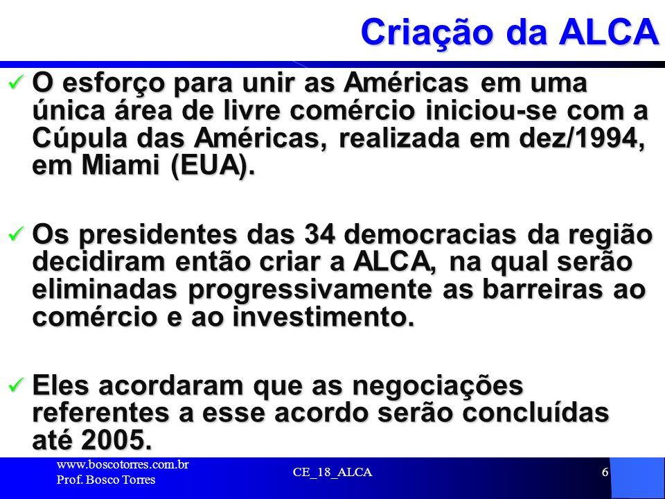 CE_18_ALCA6 Criação da ALCA O esforço para unir as Américas em uma única área de livre comércio iniciou-se com a Cúpula das Américas, realizada em dez