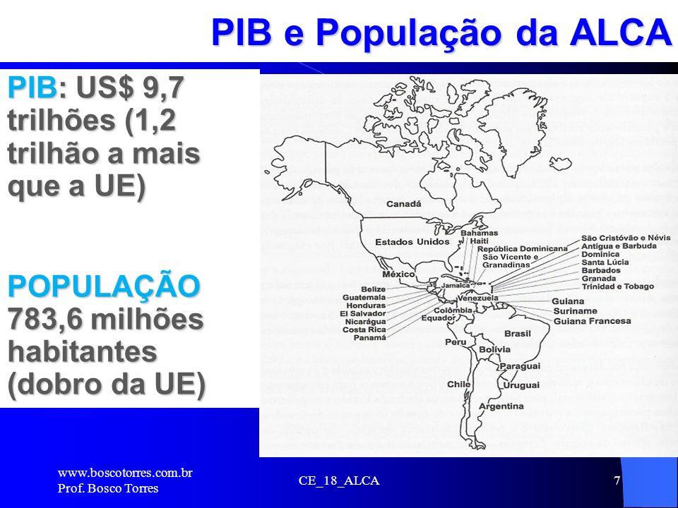 CE_18_ALCA7 PIB e População da ALCA. PIB: US$ 9,7 trilhões (1,2 trilhão a mais que a UE) POPULAÇÃO 783,6 milhões habitantes (dobro da UE) www.boscotor