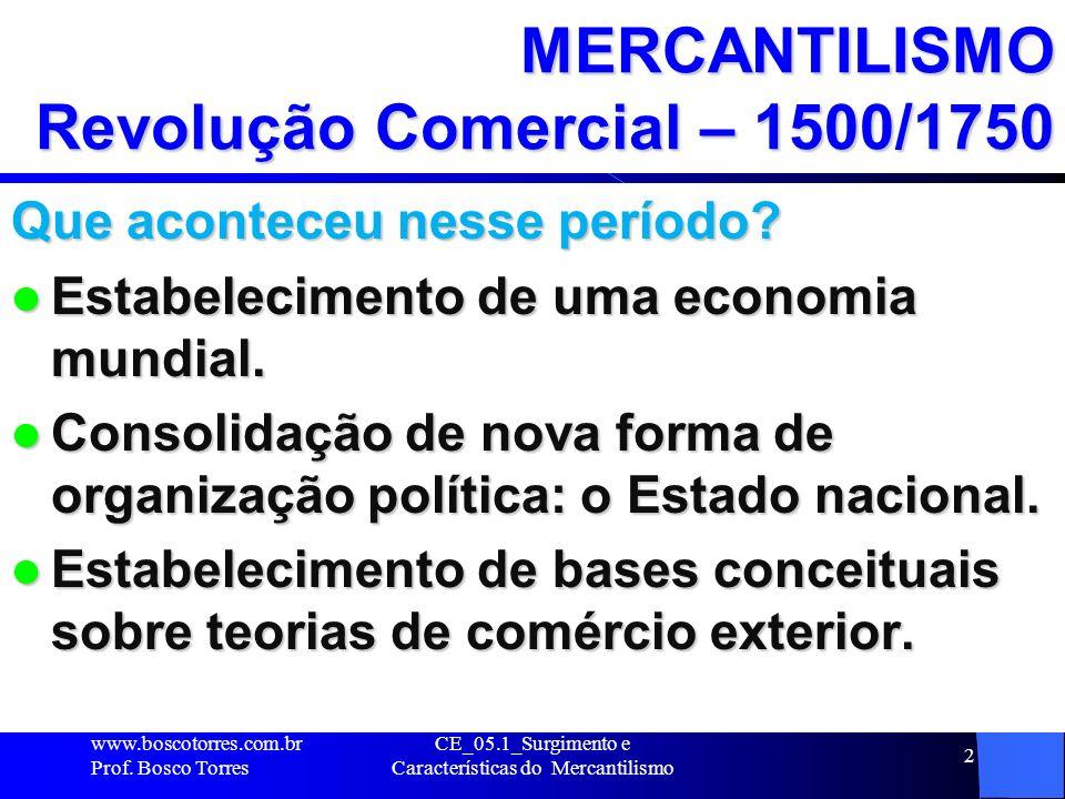 CE_05.1_Surgimento e Características do Mercantilismo 3 MERCANTILISMO Origens e Definições MERCANTILISMO é o conjunto de práticas e idéias adotadas pelos Estados absolutistas (1500 a 1750).