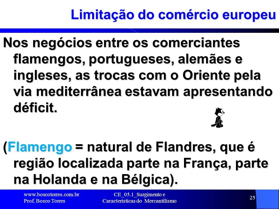 CE_05.1_Surgimento e Características do Mercantilismo 25 Limitação do comércio europeu Nos negócios entre os comerciantes flamengos, portugueses, alem