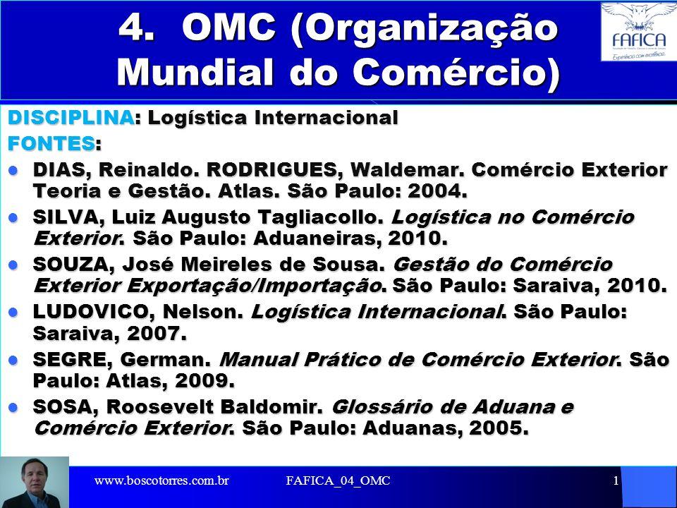 FAFICA_04_OMC12 4.6 OBJETIVOS DA OMC 1 - Proteção do meio ambiente através do comércio internacional; 2 - Necessidade de assegurar aos países em desenvolvimento uma melhor parcela no comércio; 3 - Condução das relações comerciais entre seus membros em matérias relacionadas aos acordos e instrumentos legais incluídos no Acordo sobre a OMC.