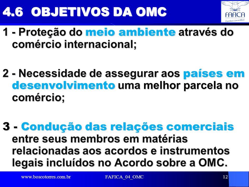 FAFICA_04_OMC12 4.6 OBJETIVOS DA OMC 1 - Proteção do meio ambiente através do comércio internacional; 2 - Necessidade de assegurar aos países em desen